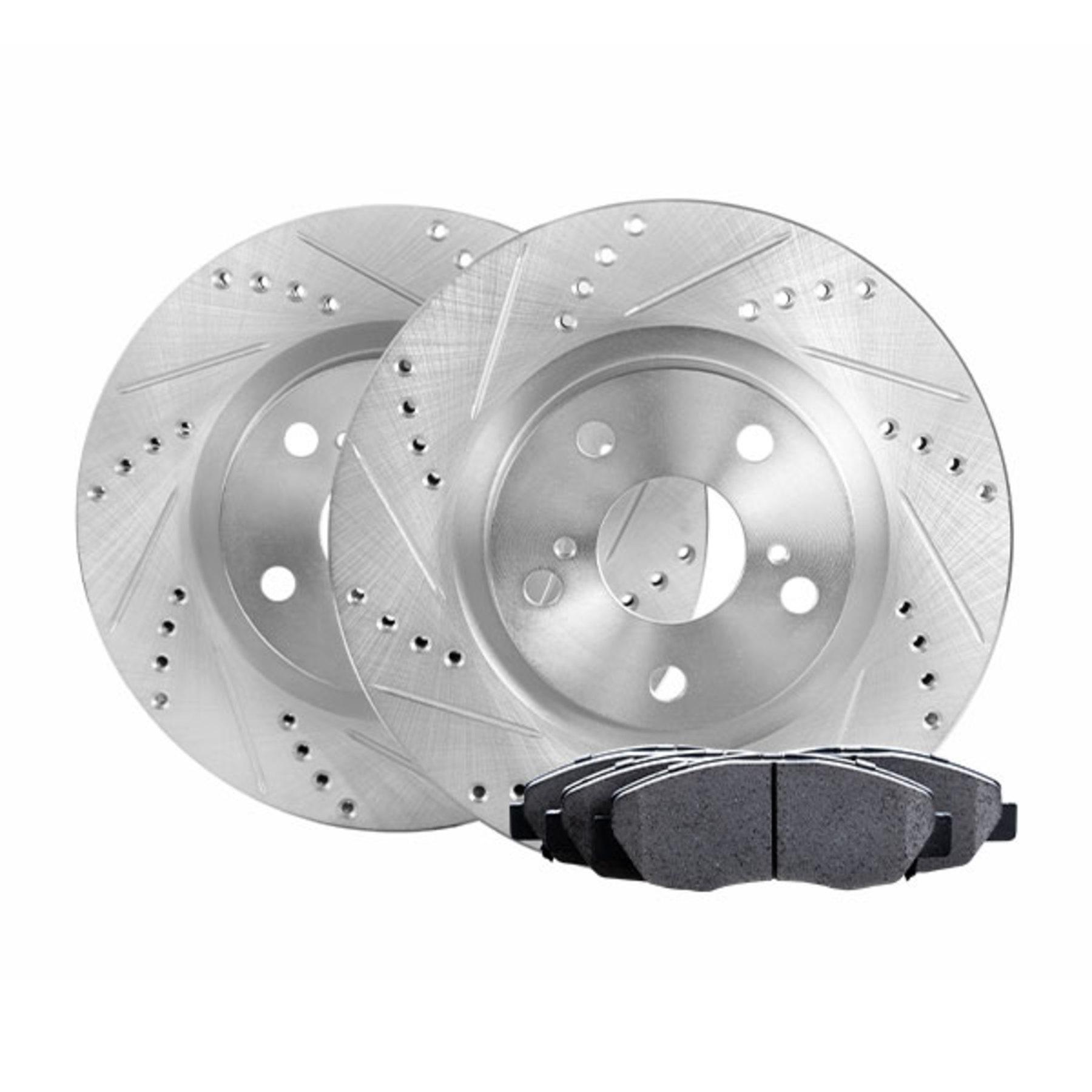 Full Kit Cross-Drilled Slotted Brake Rotors and Ceramic Brake Pads BLCC.63070.02